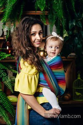 Chusta do noszenia dzieci, tkana splotem jodełkowym, bawełna - MAŁA JODEŁKA TĘCZA GRANAT - rozmiar L