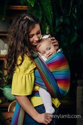 Baby Wrap, Herringbone Weave (100% cotton) - LITTLE HERRINGBONE RAINBOW NAVY BLUE - size XL