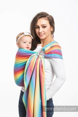 Ringsling, Herringbone Weave (82% cotton, 18% bamboo viscose) - LITTLE HERRINGBONE RAINBOW LIGHT