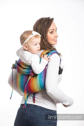 Nosidło Klamrowe ONBUHIMO z tkaniny żakardowej (100% bawełna), rozmiar Toddler - MAŁA JODEŁKA TĘCZA GRANAT