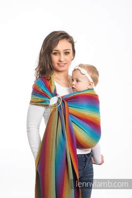 Ringsling, Herringbone Weave (100% cotton) - with gathered shoulder - LITTLE HERRINGBONE RAINBOW NAVY BLUE (grade B)