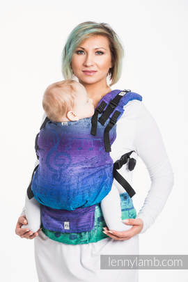 LennyUp Carrier, Standard Size, jacquard weave, 60% cotton, 36% merino wool, 4% metallised yarn - wrap conversion from SYMPHONY EUPHORIA
