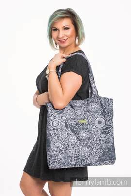 Shoulder bag made of wrap fabric (100% cotton) - WILD WINE GREY & WHITE - standard size 37cmx37cm