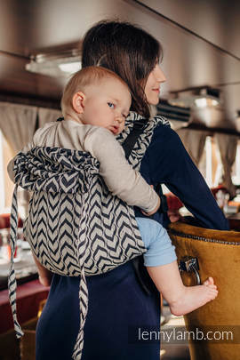 Lenny Buckle Onbuhimo, Toddler size, jacquard weave (44% combed cotton, 56% Merino wool) - Wrap conversion from CHAIN OF LOVE