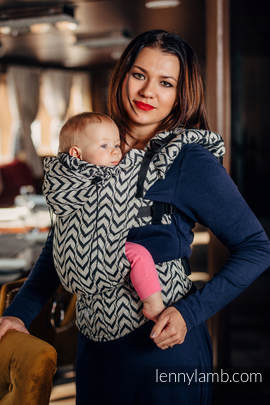 Ergonomic Carrier, Toddler Size, jacquard weave 44% combed cotton, 56% Merino wool - wrap conversion from CHAIN OF LOVE, Second Generation