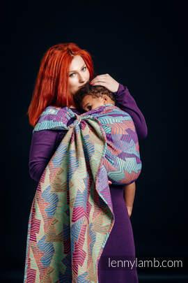 Żakardowa chusta kółkowa do noszenia dzieci, 27% bawełna czesana, 73% wełna merino - PRYZMAT