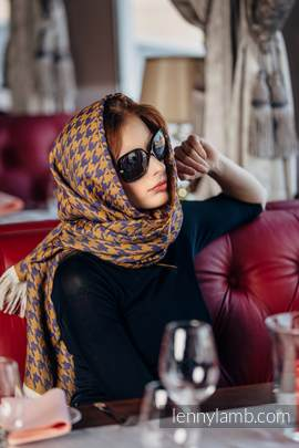 LennyScarf - 42% cotton, 49 % merino wool, 9 % cashmere - Pepitka Violet & Mustard