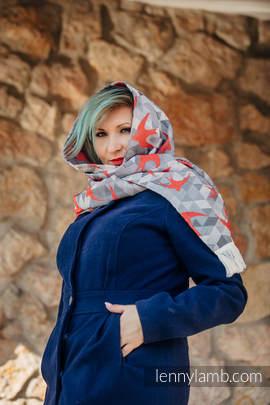 LennyScarf - 42% bawełna, 34 % wełna merino,  9 % jedwab, 15% kaszmir - Jaskółki Szary z Czerwonym