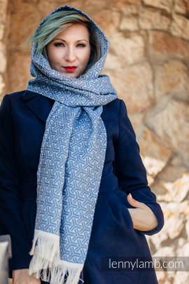 LennyScarf - 42% bawełna, 38 % jedwab, 10 % wełna merino, 10% kaszmir - Trinity Niebieski z Granatem