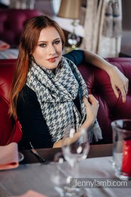 LennyScarf - 46% cotton, 26 % merino wool, 5 % cashmere, 23 % bamboo viscose - Pepitka Cream & Grey