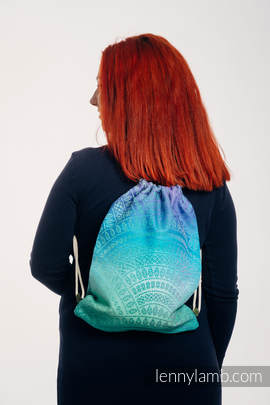 Sackpack made of wrap fabric (100% cotton) - PEACOCK'S TAIL - FANTASY - standard size 32cmx43cm