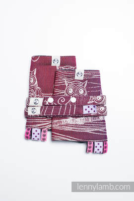 Drool Pads & Reach Straps Set, (100% cotton) - BUBO OWLS - LOST IN BORDEAUX