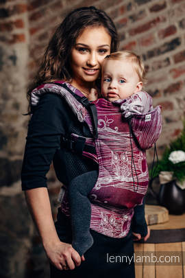 Ergonomic Carrier, Toddler Size, jacquard weave 100% cotton - wrap conversion from BUBO OWLS - LOST IN BORDEAUX - Second Generation