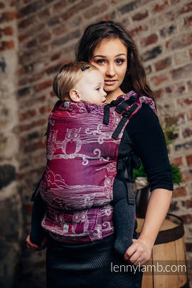 LennyUp Carrier, Standard Size, jacquard weave 100% cotton - wrap conversion from BUBO OWLS - LOST IN BORDEAUX