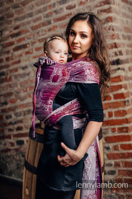 WRAP-TAI carrier Toddler with hood/ jacquard twill / 100% cotton / BUBO OWLS - LOST IN BORDEAUX
