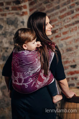 Baby Wrap, Jacquard Weave (100% cotton) - BUBO OWLS - LOST IN BORDEAUX - size S
