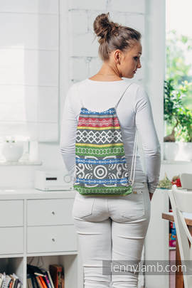 Sackpack made of wrap fabric (100% cotton) - POSITIVE VIBES- standard size 32cmx43cm