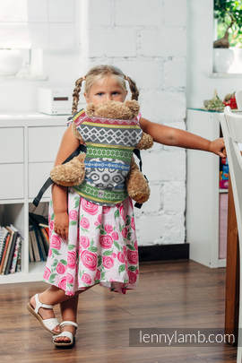 Doll Carrier made of woven fabric, 100% cotton - POSITIVE VIBES