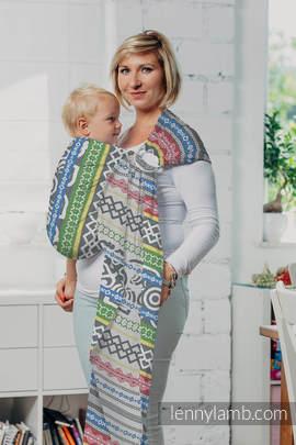 Żakardowa chusta kółkowa do noszenia dzieci, bawełna, ramię bez zakładek - POSITIVE VIBES