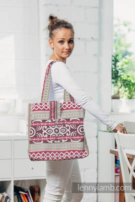 Shoulder bag made of wrap fabric (100% cotton) - GOOD VIBES - standard size 37cmx37cm