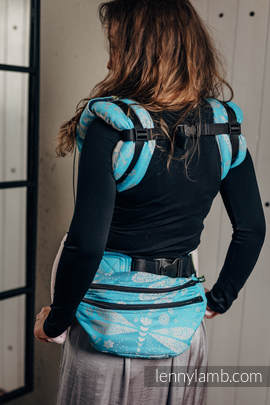 Waist Bag made of woven fabric, size large (66% cotton, 34% bamboo) - DRAGONFLY GREY & TURQUOISE