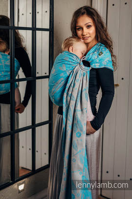 Ringsling, Jacquard Weave (66% cotton, 34% bamboo) - DRAGONFLY GREY & TURQUOISE