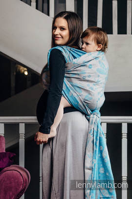 Baby Wrap, Jacquard Weave (66% cotton, 34% bamboo) - DRAGONFLY GREY & TURQUOISE - size XL