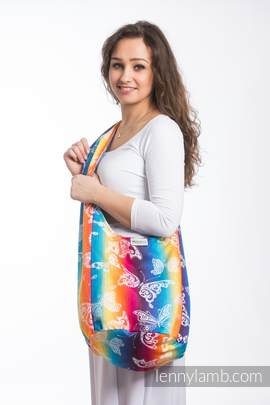 Hobo Bag made of woven fabric, 100% cotton - BUTTERFLY RAINBOW LIGHT