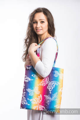 Shopping bag made of wrap fabric (100% cotton) - BUTTERFLY RAINBOW LIGHT