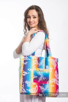 Shoulder bag made of wrap fabric (100% cotton) - BUTTERFLY RAINBOW LIGHT - standard size 37cmx37cm