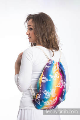 Sackpack made of wrap fabric (100% cotton) - BUTTERFLY RAINBOW LIGHT - standard size 32cmx43cm