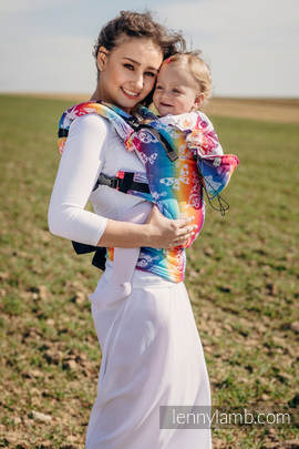 Ergonomic Carrier, Baby Size, jacquard weave 100% cotton - BUTTERFLY RAINBOW LIGHT - Second Generation