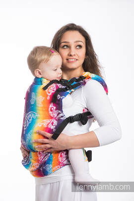 LennyUp Carrier, Standard Size, jacquard weave 100% cotton - wrap conversion from BUTTERFLY RAINBOW LIGHT