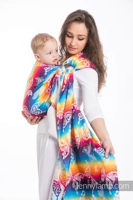 RingSling, Jacquardwebung (100% Baumwolle) - BUTTERFLY RAINBOW LIGHT