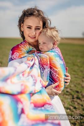 Ringsling, Jacquard Weave (100% cotton) - with gathered shoulder - BUTTERFLY RAINBOW LIGHT