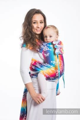WRAP-TAI carrier Mini with hood/ jacquard twill / 100% cotton / BUTTERFLY RAINBOW LIGHT