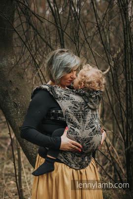Ergonomische Tragehilfe, Größe Toddler, Jacquardwebung, 65% Baumwolle, 35% Seide - QUEEN OF THE NIGHT - PAMINA - Zweite Generation