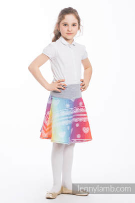LennySkirt - size 134 - Rainbow Lace & Grey