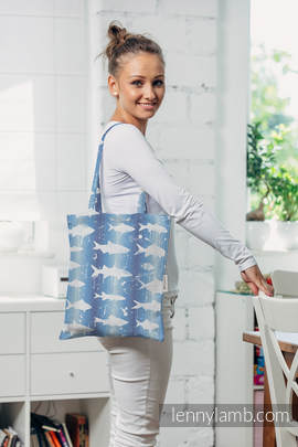 Shopping bag made of wrap fabric (100% cotton) - FISH'KA BIG BLUE