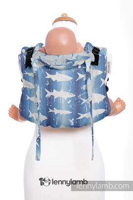 Lenny Buckle Onbuhimo, toddler size, jacquard weave (100% cotton) - Wrap conversion from FISH'KA BIG BLUE