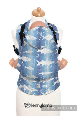 Ergonomic Carrier, Toddler Size, jacquard weave 100% cotton - wrap conversion from FISH'KA BIG BLUE - Second Generation