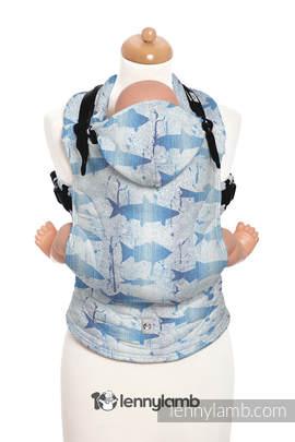 Nosidełko Ergonomiczne z tkaniny żakardowej 100% bawełna , Baby Size, FISH'KA WIELKI BŁĘKIT REWERS - Druga Generacja