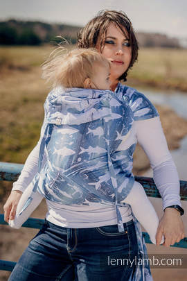 WRAP-TAI Tragehilfe Toddler mit Kapuze/ Jacquardwebung / 100% Baumwolle / FISH'KA BIG BLUE