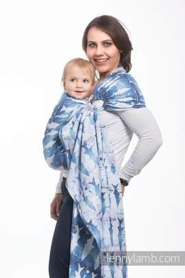 Żakardowa chusta kółkowa do noszenia dzieci, bawełna, ramię bez zakładek - FISH'KA WIELKI BŁĘKIT