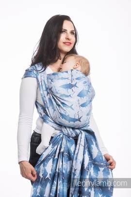 Baby Wrap, Jacquard Weave (100% cotton) - FISH'KA BIG BLUE - size L (grade B)