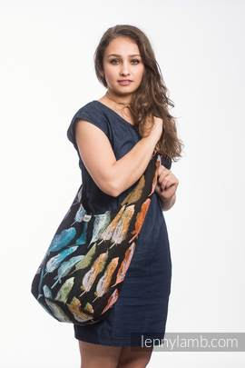 Hobo Bag made of woven fabric, 100% cotton - PAINTED FEATHERS RAINBOW DARK