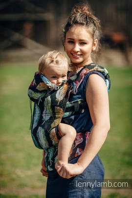 Ergonomic Carrier, Toddler Size, jacquard weave 100% cotton - wrap conversion from PAINTED FEATHERS RAINBOW DARK - Second Generation