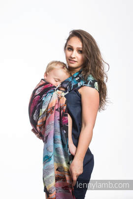 Ringsling, Jacquard Weave (100% cotton) - PAINTED FEATHERS RAINBOW DARK
