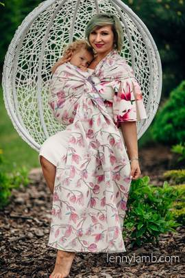 Żakardowa chusta kółkowa do noszenia dzieci, 100% bawełna - MAGNOLIA