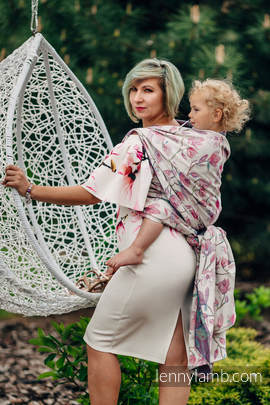 Żakardowa chusta do noszenia dzieci, 100% bawełna - MAGNOLIA - rozmiar L